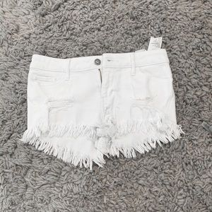 hollister white jean shorts
